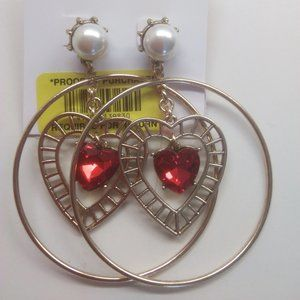 Betsey Johnson New Red and Gold Hearts Earrings
